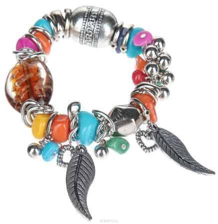 Купить Браслет Taya, цвет: серебристый, коричневый, оранжевый, голубой. T-B-10339