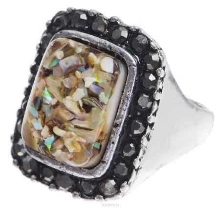 Купить Кольцо Taya, цвет: серебряный, бежевый. Размер 18. T-B-8675