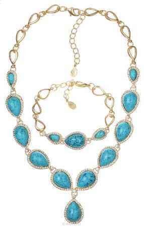 Купить Комплект украшений Happy Garnets: колье, браслет, цвет: золотистый, голубой. SN0114BN