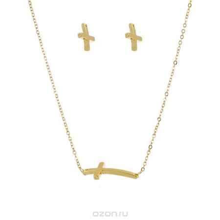 Купить Комплект украшений Taya: подвеска, серьги, цвет: золотистый. T-B-4464