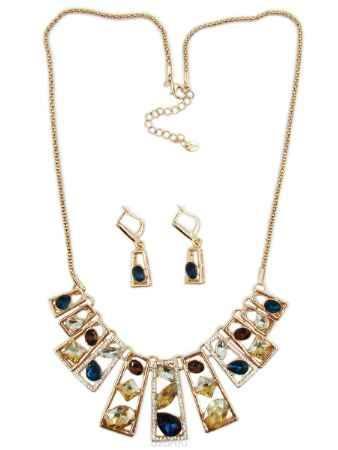 Купить Комплект украшений Taya: колье, серьги, цвет: золотой, синий, бирюзовый. T-B-10258