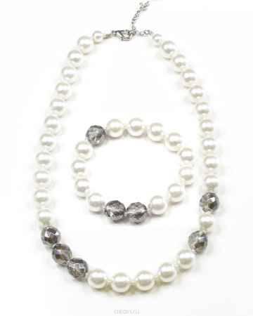 Купить Комплект украшений Bohemia Style: бусы, браслет, цвет: серый, белый. 182 3970 01
