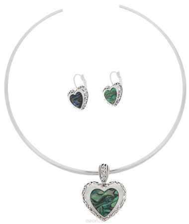Купить Комплект украшений Avgad: колье, серьги, цвет: серебристый, бирюзовый. H-477S944