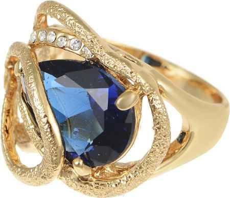 Купить Кольцо Art-Silver, цвет: золотистый, синий. 016134-350. Размер 17,5