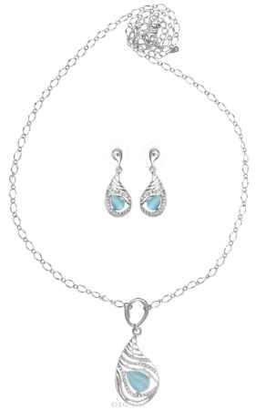 Купить Комплект Art-Silver: колье, серьги, цвет: серебряный, голубой. M003840А-001-1451