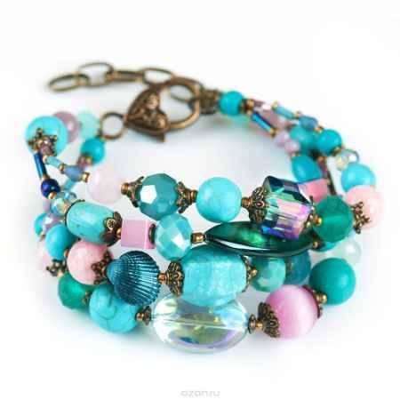 Купить Браслет женский Selena Роман с камнем Персия, цвет: бирюзовый, розовый. 40058730