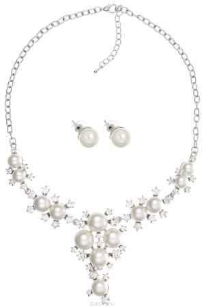 Купить Комплект украшений Taya, цвет: серебристый, перламутровый. T-B-10858
