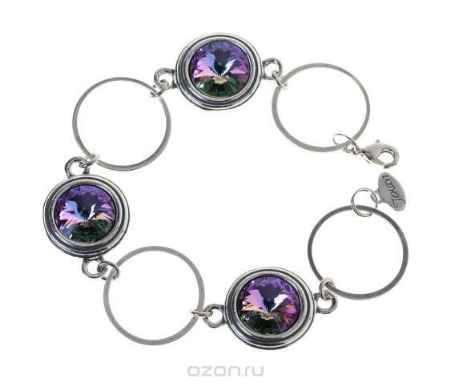 Купить Браслет Jenavi Коллекция Радиус Эмбаси, цвет: серебряный, фиолетовый. j1713450. Размер 16