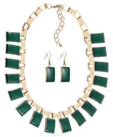 Купить Комплект украшений Happy Charms Family: ожерелье, серьги, цвет: золотой, зеленый. NOAH0019