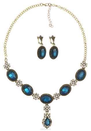Купить Комплект украшений Fashion House, цвет: золотой, белый, синий. FH32866