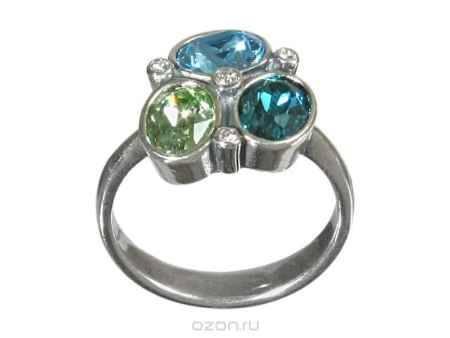 Купить Кольцо Jenavi Коллекция Дефиле Коллаж, цвет: серебряный, голубой. b9653040. Размер 19