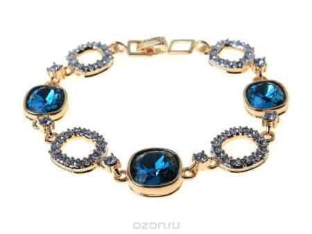 Купить Браслет Jenavi Коллекция Милан Аустралис, цвет: золотой, голубой. b136q443. Размер 18,5