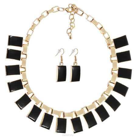 Купить Комплект украшений Happy Charms Family: ожерелье, серьги, цвет: золотой, черный. NOAH0016