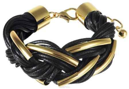 Купить Браслет Art-Silver, цвет: золотистый, черный. 141114-18Black-473