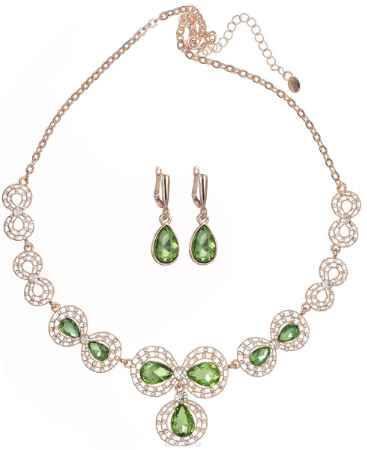 Купить Комплект украшений Taya: колье, серьги, цвет: золотистый, светло-зеленый. T-B-11533