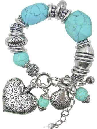 Купить Браслет Taya, цвет: серебристый, бирюзовый. T-B-10333
