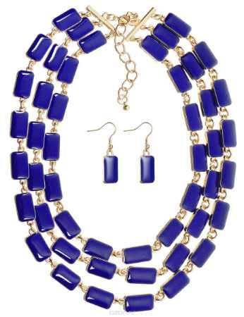 Купить Комплект украшений Happy Charms Family: колье, серьги, цвет: золотой, синий. NOAH0026