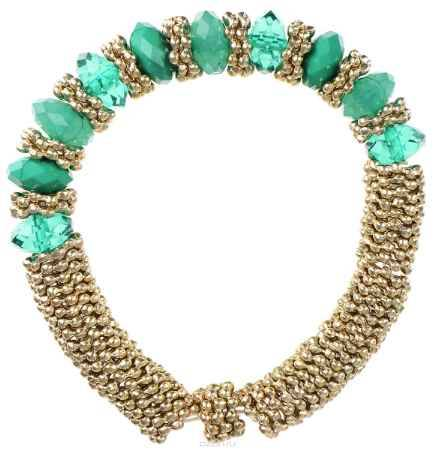 Купить Браслет Taya, цвет: золотистый, зеленый. T-B-5542