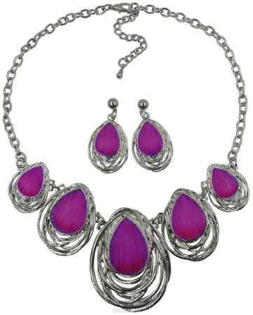Купить Комплект украшений Taya: серьги, колье, цвет: серебряный, пурпурный. T-B-98
