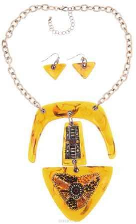 Купить Комплект украшений Avgad: колье, серьги, цвет: золотистый, светло-коричневый. H-477S952