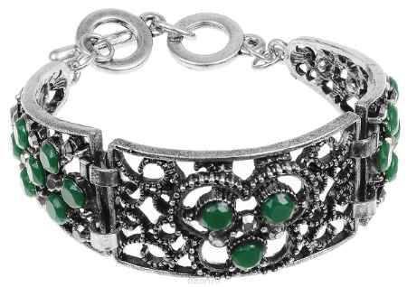 Купить Браслет Fashion House, цвет: черненое серебро, зеленый. FH33040