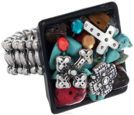 Купить Кольцо Avgad, цвет: серебристый, бирюзовый, черный. EA178JW260