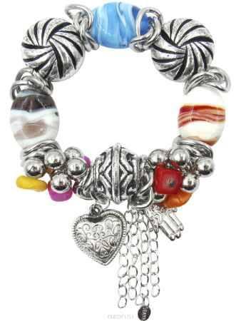 Купить Браслет Taya, цвет: серебристый, белый, синий, фуксия, коралловый. T-B-10332