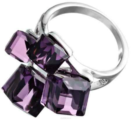 Купить Кольцо Happy Charms Family, цвет: серебряный, фиолетовый. NOAJ0247. Размер 19