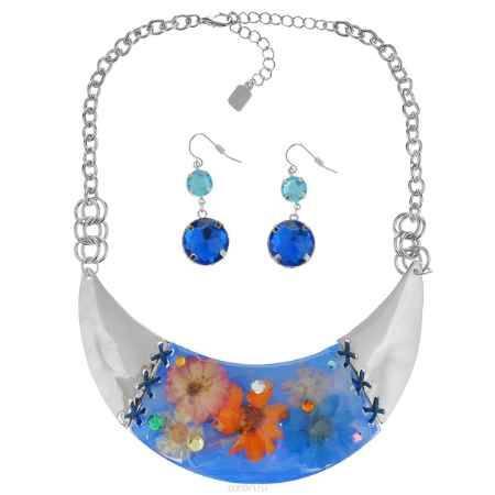 Купить Комплект Avgad: колье, серьги, цвет: серебристый, синий. H-477S852