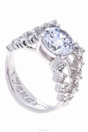Купить Кольцо Jenavi Коллекция Teona Ситара, цвет: серебряный, белый. f429f0a0. Размер 19