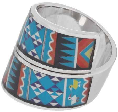 Купить Кольцо Art-Silver, цвет: серебристый, голубой, мультиколор. ФК136-1-320. Размер 17,5