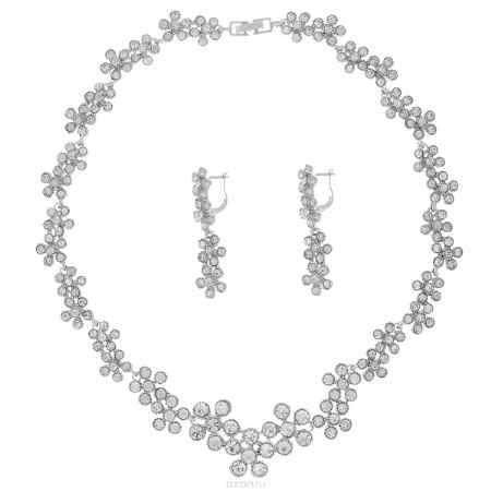 Купить Комплект украшений Taya: колье, серьги, цвет: серебристый. T-B-9517
