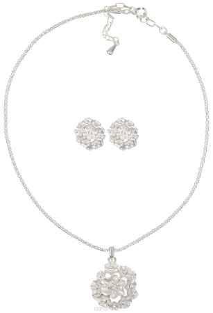 Купить Комплект украшений Fashion House: колье, серьги, цвет: серебристый, белый. FH24557