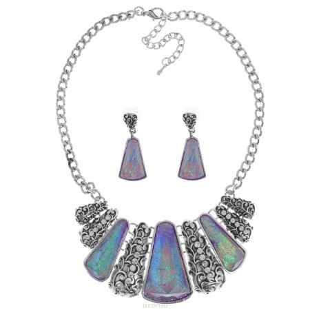 Купить Комплект украшений Taya: колье, серьги, цвет: мультиколор, пурпурный. T-B-9273