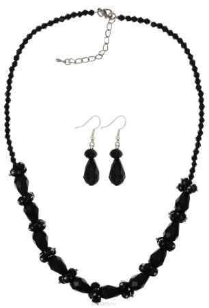Купить Комплект украшений Fashion House, цвет: серебряный, черный. FH28045