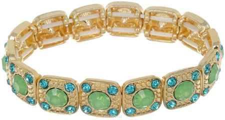 Купить Браслет Taya, цвет: золотистый, зеленый. T-B-6983