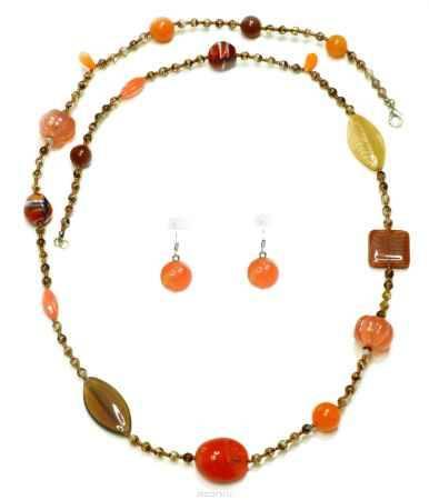 Купить Комплект украшений Bohemia Style: бусы, серьги, цвет: оранжевый, коричневый. 1248 2410 03