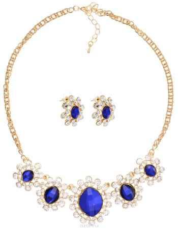 Купить Комплект украшений Taya, цвет: золотистый, белый, синий. T-B-10860
