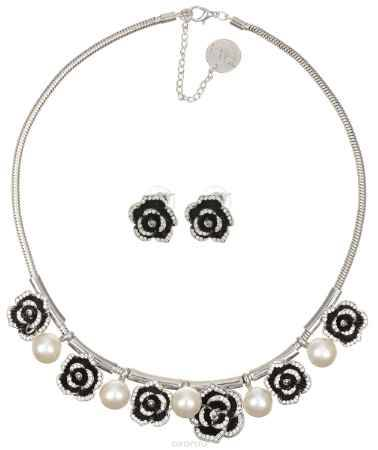 Купить Комплект украшений Taya: колье, серьги, цвет: серебристый, белый. T-B-10170
