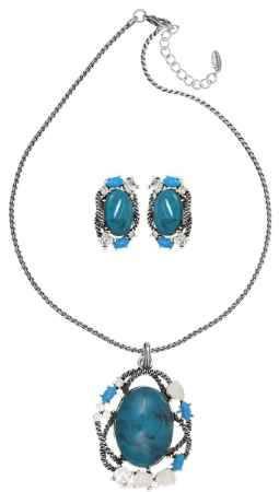 Купить Комплект Art-Silver: колье, серьги, цвет: серебряный, голубой. 028761-1876