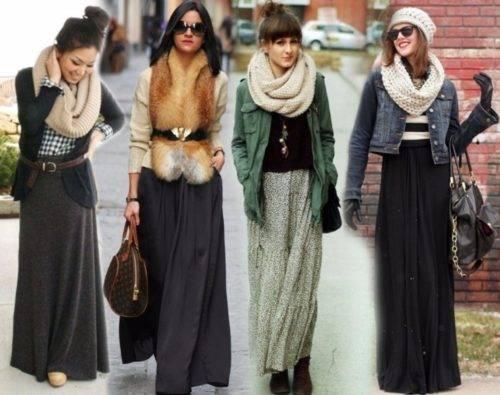 С чем носить длинную теплую юбку