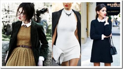 Комбинирование вязаных платьев с другими составными образа