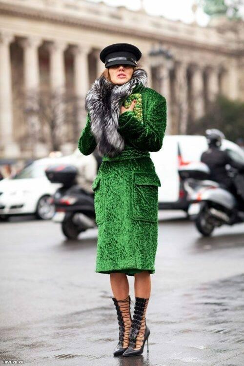 С чем носить пальто с мехом